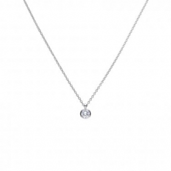 Diamonfire Silver Bezel Set 2ct Cubic Zirconia Pendant and Chain P4645