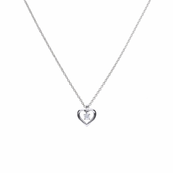 Diamonfire Silver Open Heart Pendant with Drop Cubic Zirconia P4637