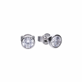 Diamonfire Silver Bezel Set 0.5ct Total Weight Cubic Zirconia Stud Earring E5617
