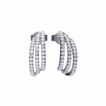 Diamonfire Silver 3 Row Cubic Zirconia Hoop Earrings E5632