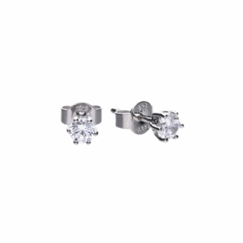 Diamonfire Silver 6 Claw 0.5ct Total Weight Cubic Zirconia Stud Earring E5583