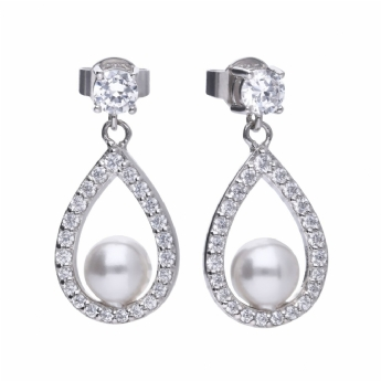 Diamonfire Silver Imitation Pearl and Cubic Zirconia Pear Drop Earring E5597