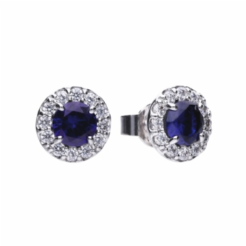 Diamonfire Silver Round Cluster with Blue Centre Stone and Cubic Zirconia Halo Stud Earrings E5598