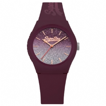 Superdry Mulberry Rubber Strap Watch with Glitter and Rose-Gold Tone Plated Dial SYL179R