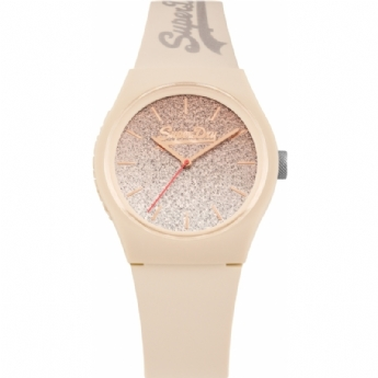 Superdry Nude Rubber Strap Watch with Glitter and Rose Tone Plated Dial SYL179C