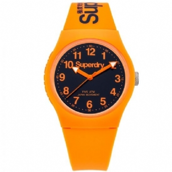 Superdry Orange Rubber Strap with Navy Dial SYG164O