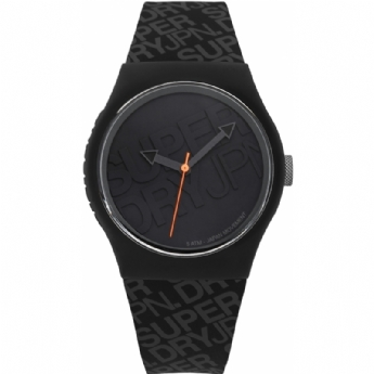 Superdry Black Silicone Strap Watch with Branded Dial SYG169B