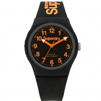 Superdry Black and Orange Silicone Strap Watch SYG164B