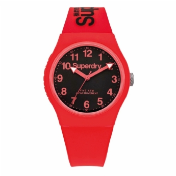 Superdry Black and Red Silicone Strap Watch SYG164RB