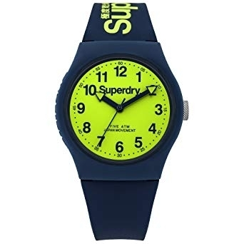 Superdry Navy Silicone with Lime Watch SYG164UN