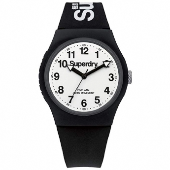 Superdry Black Silicone Strap with White Dial SYG164BW