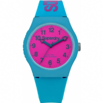 Superdry Turquoise Silicone Strap with Pink Dial SYG164AUP