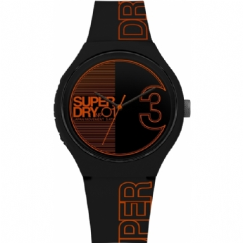 Superdry Black and Red Silicone Fusion Strap Watch SYG239BO
