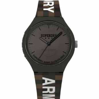 Superdry Green and Grey Army Division Silicone Strap Watch SYG251E