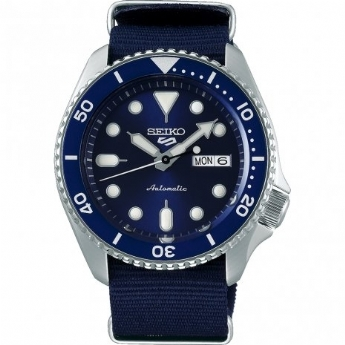 Seiko 5 Sports Stainless Steel and Navy Automatic Canvas Strap Watch SRPD51K2