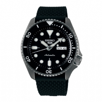 Seiko 5 Sports Stainless Steel Black Automatic Silicone Strap Watch SRPD65K2