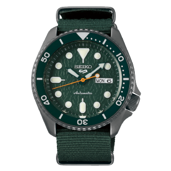 Seiko 5 Sports Stainless Steel and Green Automatic Canvas Strap Watch SRPD77K1