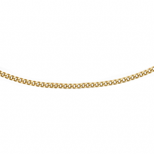9ct Yellow Gold Diamond Cut Adjustable Curb Chain 16''-18''