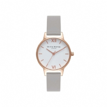 Olivia Burton 'White Dial' Grey Leather and Rose Plate Strap Watch OB16MDW05