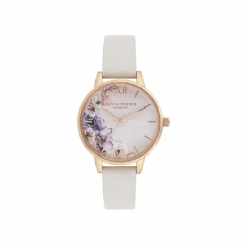 Olivia Burton Watercolour Florals Blush and Rose Plate Watch OB16PP54