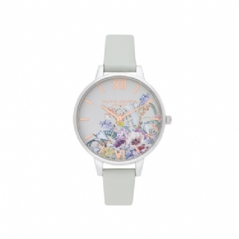 Olivia Burton 'Enchanted Garden' Grey Vegan Leather and Stainless Steel Watch OB16EG153