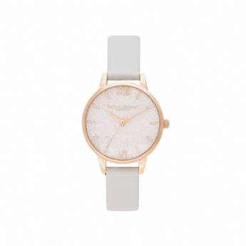 Olivia Burton Glitter Dial Pale Gold Watch with Vegan Blush Leather Strap OB16GD50