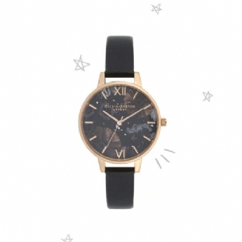 Olivia Burton 'Celestial' Black Shimmering Dial with Black Leather Rose Plate Watch OB16GD22