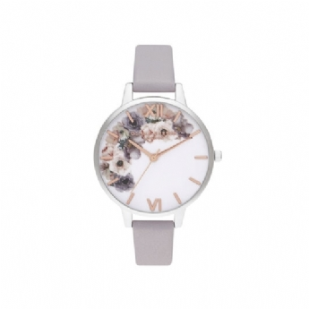 Olivia Burton Watercolour Florals Grey Leather with Rose and Stainless Steel Watch OB16PP56