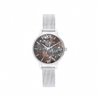 Olivia Burton 'Celestial' Black Shimmering Dial with Stainless Steel Bracelet Watch OB16GD23