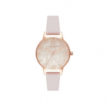 Olivia Burton Semi Precious Rose Quartz Dial Watch with Blossom Leather Strap OB16SP02