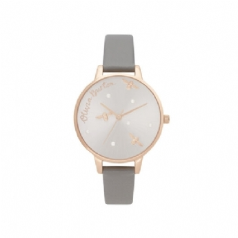 Olivia Burton Pearly Queen Bee Dial with Vegan Leather Strap and Rose Plate Watch OB16PQ03