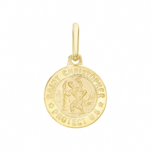 9ct Yellow Gold St Christopher Round Medal Satin Pendant