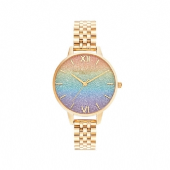 Olivia Burton Rainbow Glitter Dial and Gold Vermeil Bracelet Watch OB16RB23