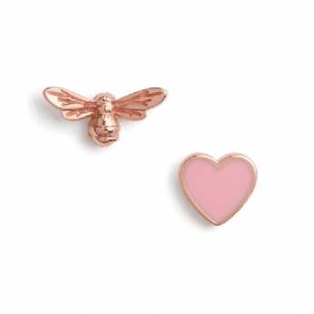 Olivia Burton Sterling Silver and Rose Vermeil You Have My Heart Studs OBJLHE44