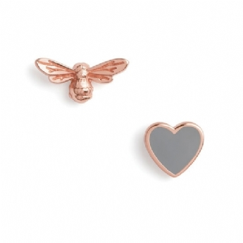 Olivia Burton Sterling Silver and Rose Vermeil You Have My Heart Studs OBJLHE45