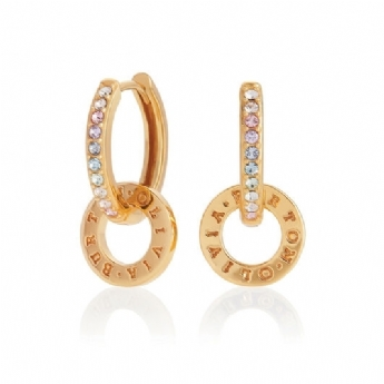 Olivia Burton Bejewelled Silver and Yellow Tone Classics Rainbow Interlink Huggie Hoops OBJRBE02