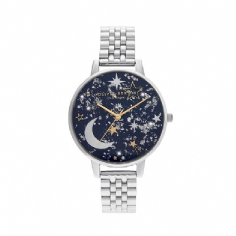 Olivia Burton 'Celestial' Navy Sunray with Yellow Vermeil Details and Stainless Steel Bracelet OB16GD64