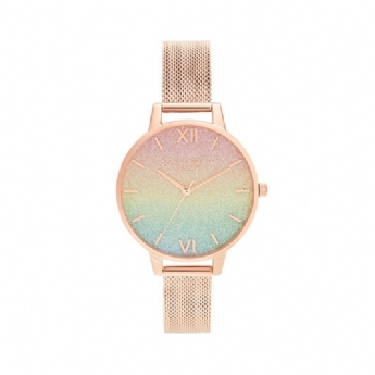 Olivia Burton Rainbow Glitter Dial and Rose Gold Vermeil Bracelet Watch OB16RB18