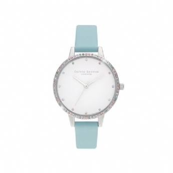 Olivia Burton Rainbow Bezel Watch with Turquoise Leather Strap OB16RB19