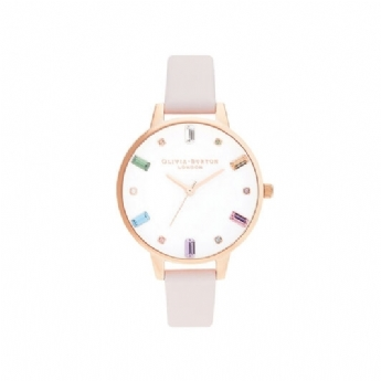 Olivia Burton Rainbow Blossom and Rose Gold Vermeil Leather Strap Watch OB16RB22