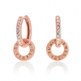 Olivia Burton Sterling Silver and Rose Vermeil Bejewelled Classics Rainbow Huggie Hoops OBJRBE03