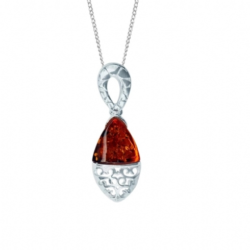 Sterling Silver Filigree and Amber Pendant and Chain