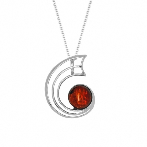 Sterling Silver Amber Curved Pendant and Chain