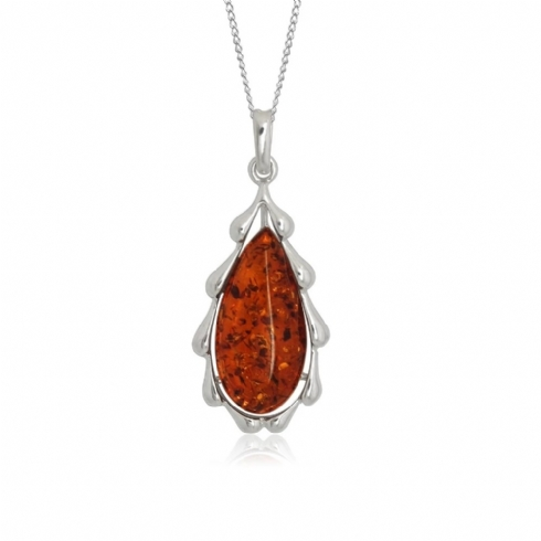 Sterling Silver and Tear Drop Amber Pendant with Rippled Edge and Chain