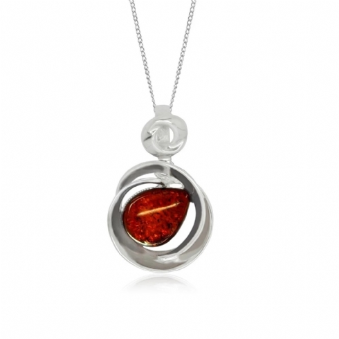 Sterling Silver and Amber Round Pendant and Chain