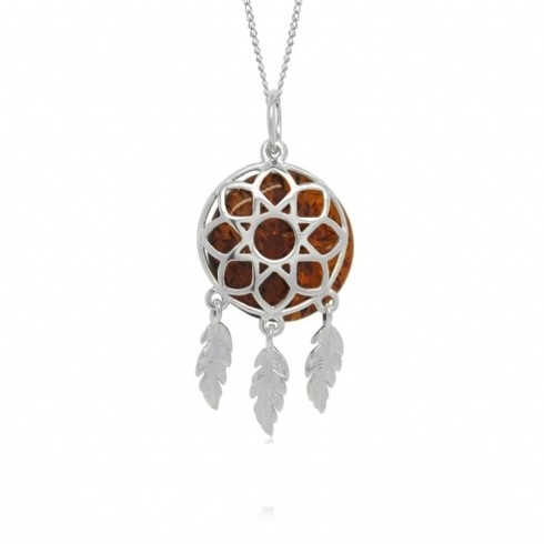Sterling Silver and Amber Dreamcatcher Pendant and Chain