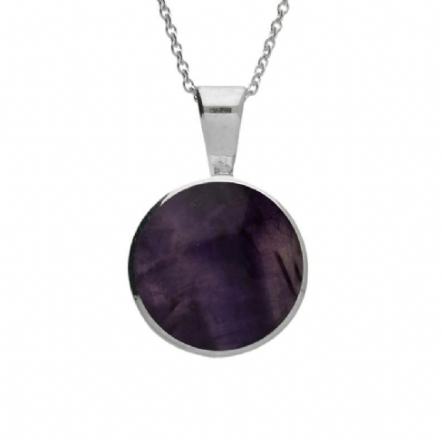 Blue John and Sterling Silver Round Pendant and Chain
