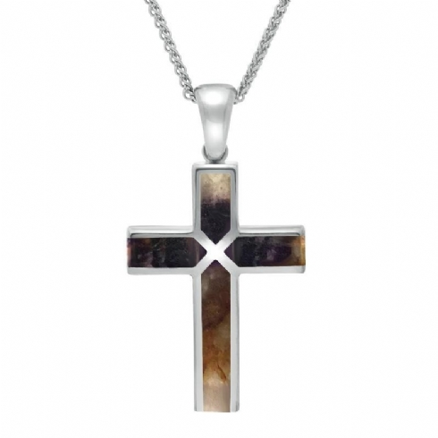 Sterling Silver and Blue John Cross and Chain