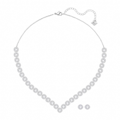Swarovski Angelic Silver Tone Square Necklet and Earrings Set 5364318