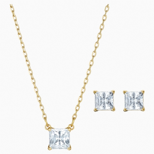 Swarovski Yellow Gold Tone Square Crystal Pendant and Earrings Set 5510683